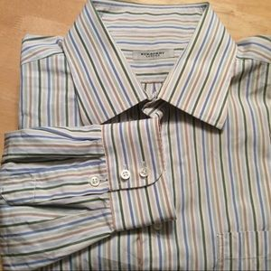 Burberry of London white stripe men's dress shirt